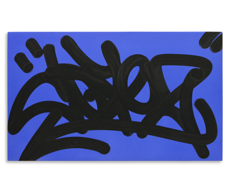 "Cope2 Detroit Tag Series 3 Aerosol & Marker on Wood 20"" x 12"" $150"