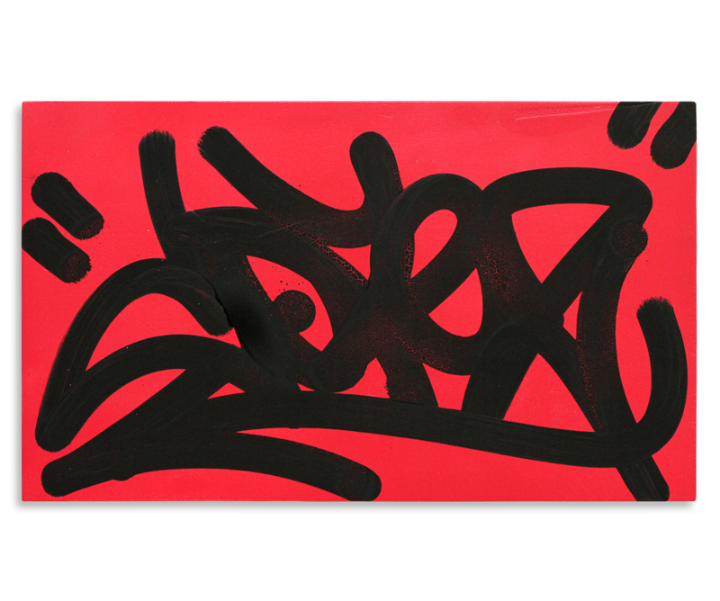 "Cope2 Detroit Tag Series 6 Aerosol & Marker on Wood 20"" x 12"" $150"