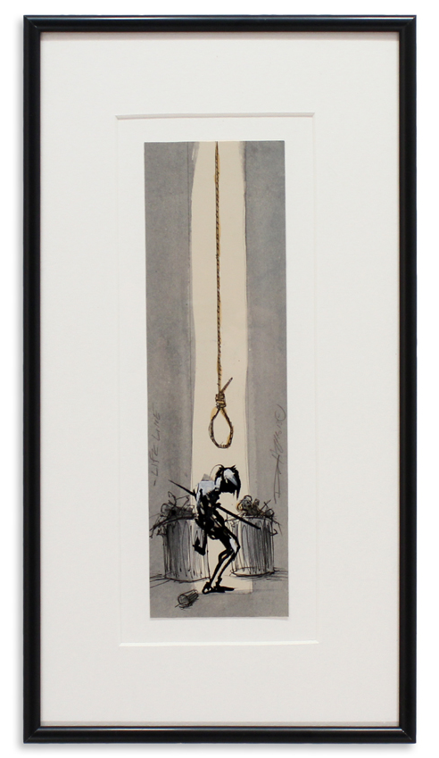 "Life Line  Pen, Ink, Acrylic Framed 8.25"" x 15""  SOLD"