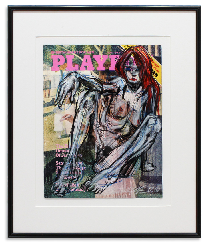 "Playboy May 1976 II  Retro Playboy cover & grease pencils 13.5"" x 16.25"" Framed SOLD"