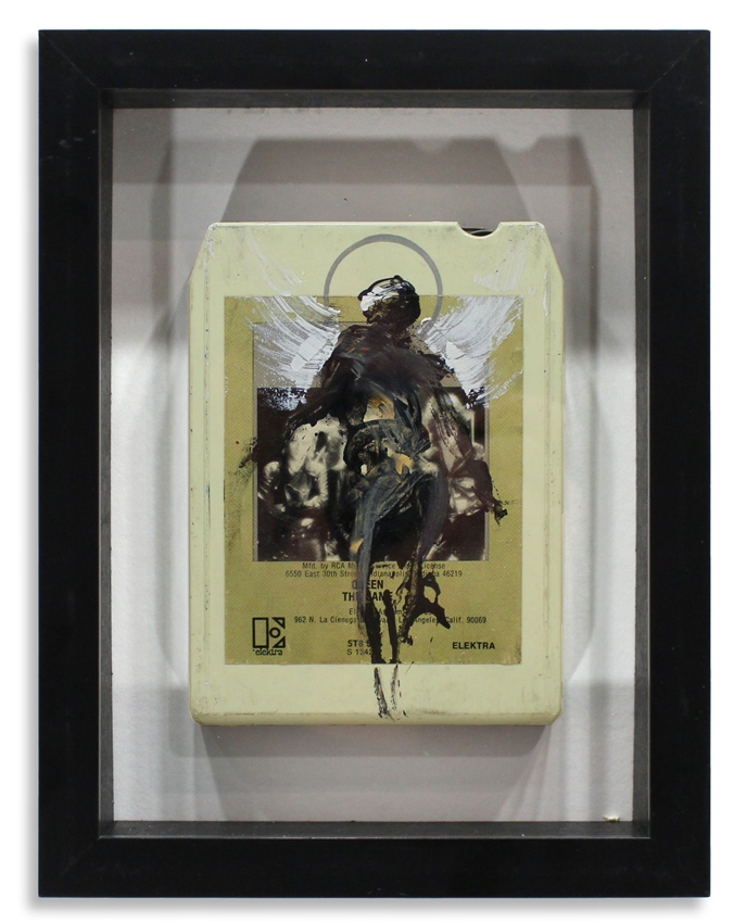 "Queen 'The Game'  Mixed Media on 8-Track 7"" x 9""  Framed in Shadowbox  SOLD"
