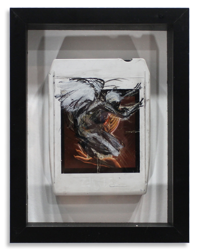"Angel 'Helluva Band'  Mixed Media on 8-Track 7"" x 9""  Framed in Shadowbox  SOLD"