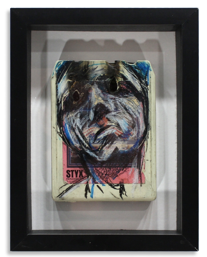 "Styxx 'Paradise Theatre'  Mixed Media on 8-Track 7"" x 9"" Framed in Shadowbox   SOLD"
