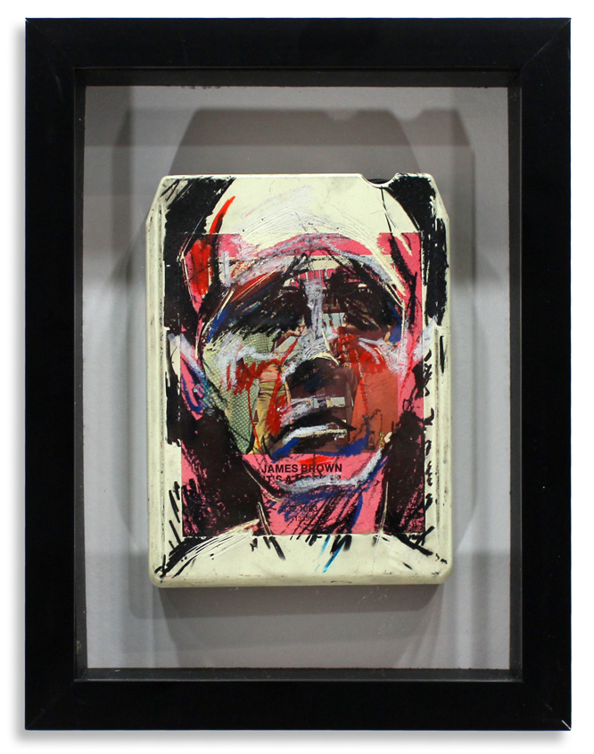 "James Brown ""It's a Mother""  Mixed Media on 8-Track 7"" x 9"" Framed in Shadowbox  SOLD"