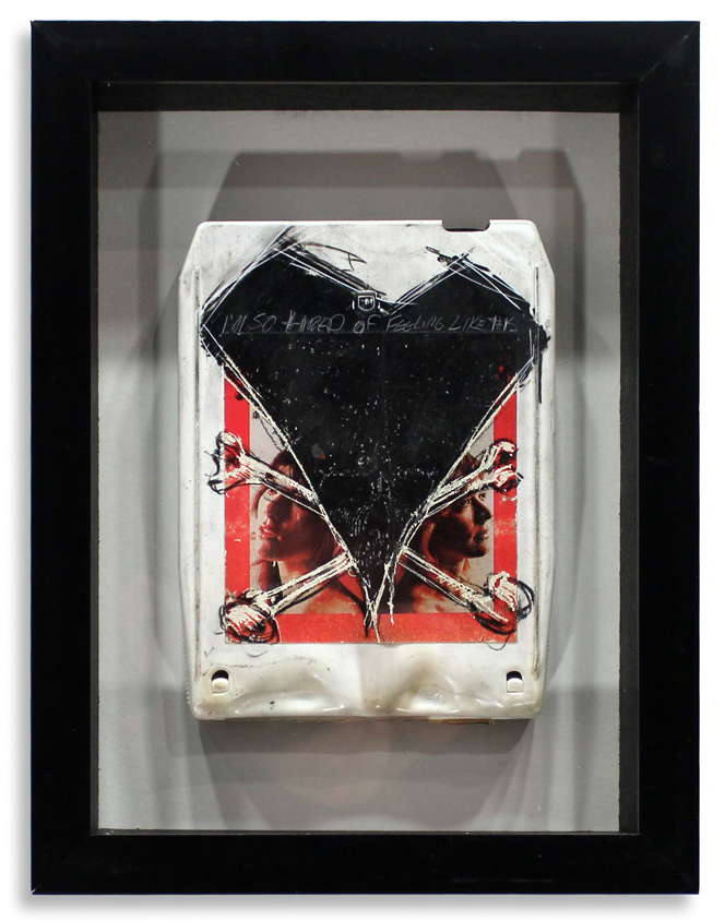 "Heart 'Dreamboat Annie'  Mixed Media on 8-Track 7"" x 9"" Framed in Shadowbox  SOLD"