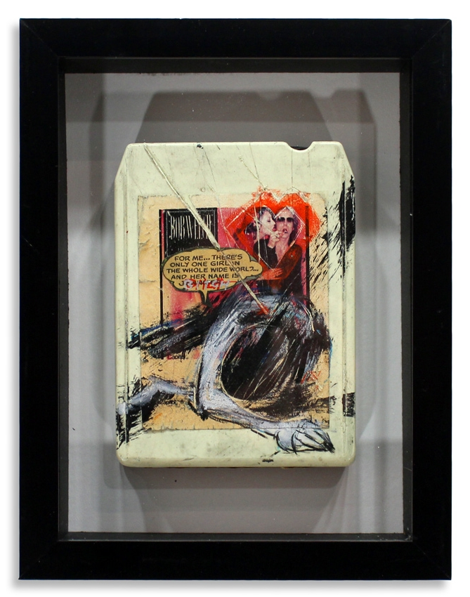 "Bob  Welch 'French Kiss'  Mixed Media on 8-Track 7"" x 9""  Framed in Shadowbox  SOLD"