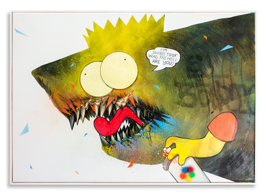 "Cici Nestpas Une Bart Simpson Acrylic on Canvas 27"" x 19"" SOLD"