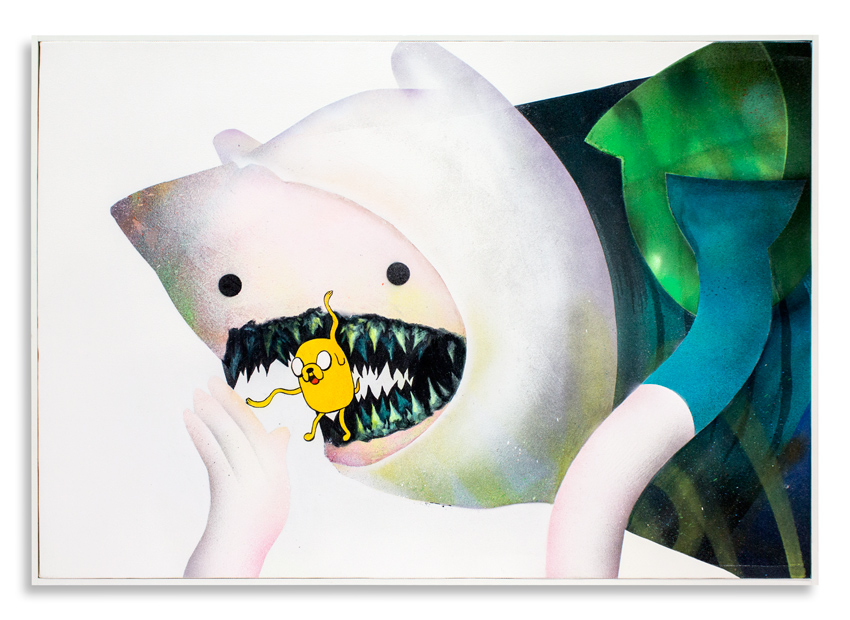 "Cici Nestpas Une Finn & Jake Acrylic on Canvas 27"" x 19"" $1,400 Click Here to Purchase"
