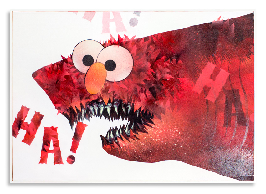 "Cici Nestpas Une Tickle Me Elmo Acrylic on Canvas 27"" x 19"" $1,400 Click Here to Purchase"