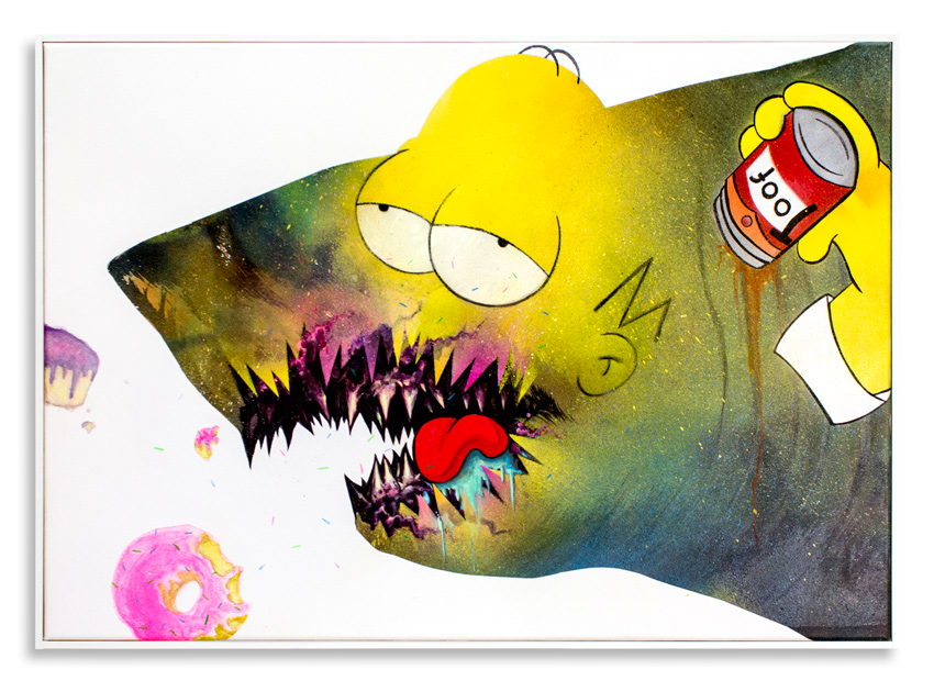 "Cici Nestpas Une Homer Simpson Acrylic on Canvas 27"" x 19"" SOLD Click Here to Purchase"