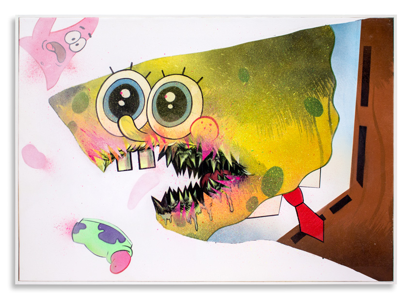 "Cici Nestpas Une SpongeBob Acrylic on Canvas 27"" x 19"" $1,400 Click Here to Purchase"