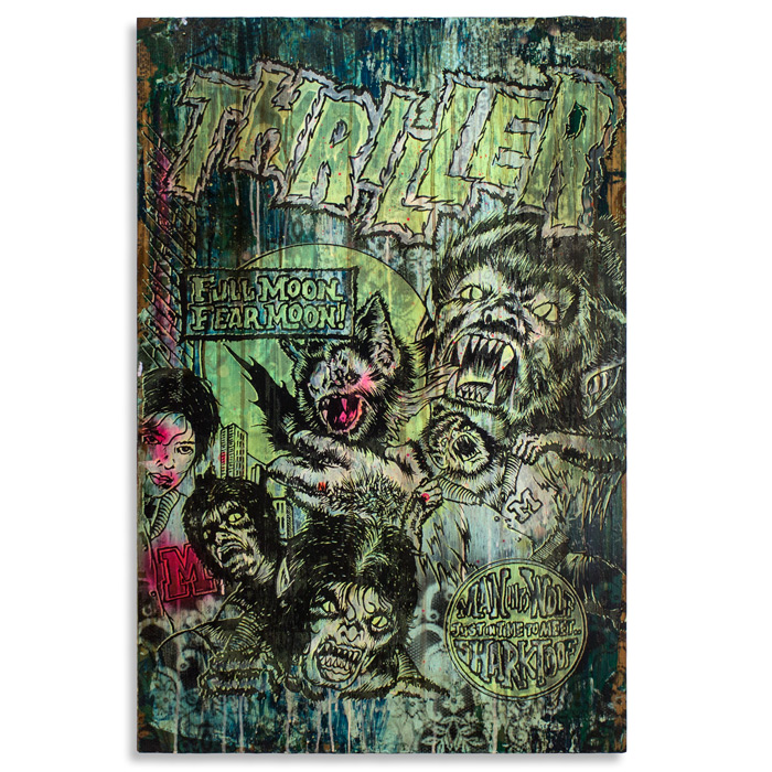 "Thriller Acrylic, House Paint & Aerosol on Cradled Wood 24"" x 36"" x 2.5"" $800 Click Here to Purchase"