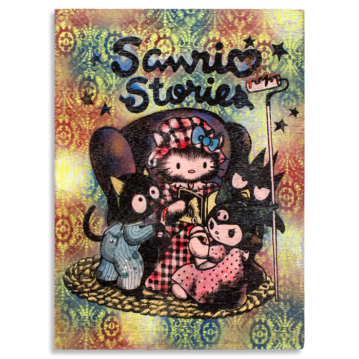 "Sanrio Stories Acrylic, House Paint & Aerosol on Cradled Wood 18"" x 24"" x 2.5"" $400 Click Here to Purchase"