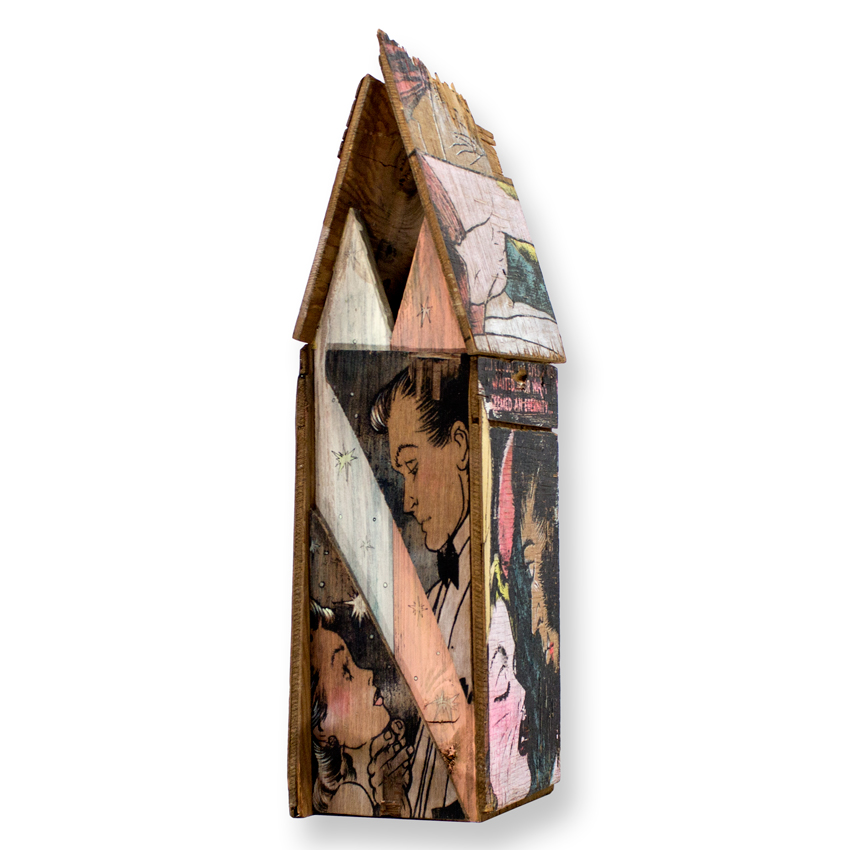 "Shanty Structure 2 Acrylic, House Paint & Aerosol on Found Wood 22"" x 5.5"" x 6.6"" $750 Click Here to Purchase"