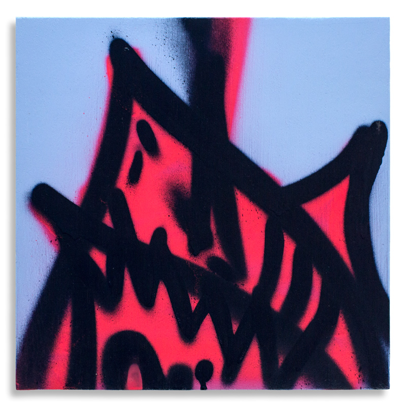 "Shark Toof Throw Up 2 Aerosol on Cradled Wood 12"" x 12"" SOLD Click Here to Purchase"