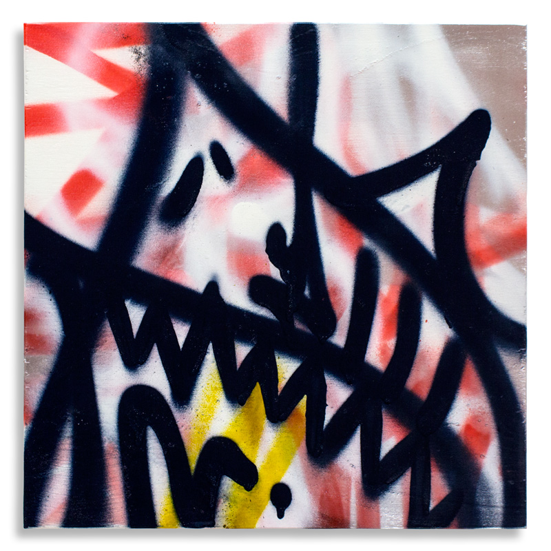 "Shark Toof Throw Up 4 Aerosol on Cradled Wood 12"" x 12"" SOLD Click Here to Purchase"