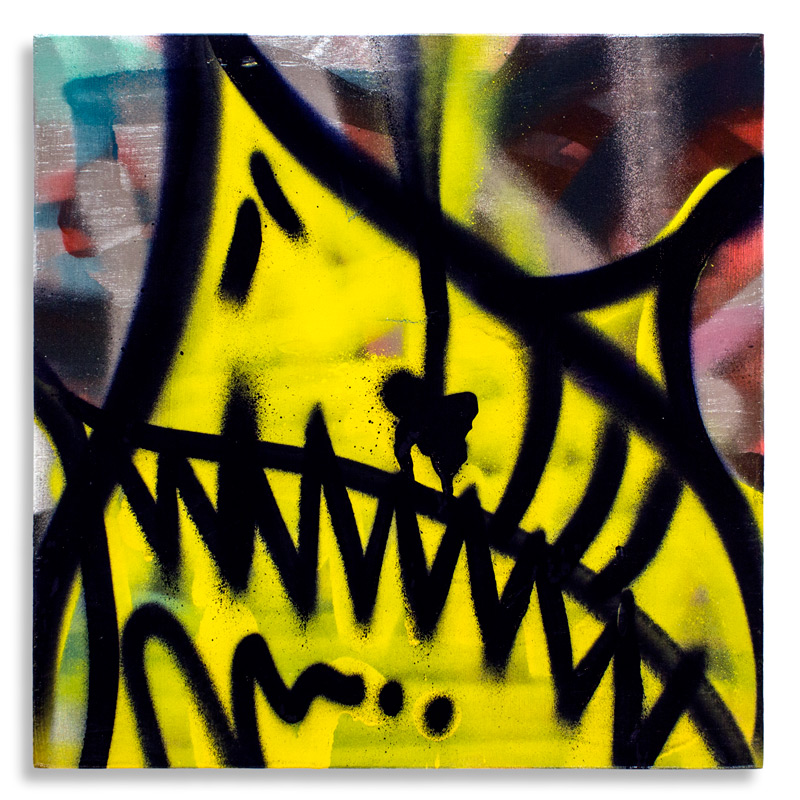"Shark Toof Throw Up 5 Aerosol on Cradled Wood 12"" x 12"" SOLD Click Here to Purchase"