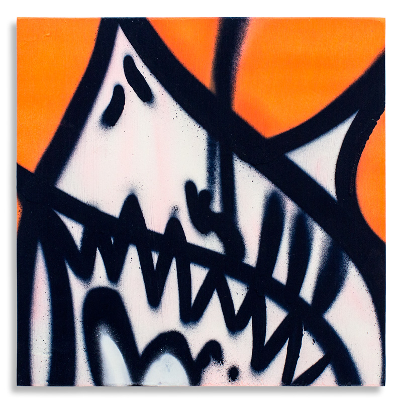 "Shark Toof Throw Up 6 Aerosol on Cradled Wood 12"" x 12"" SOLD Click Here to Purchase"