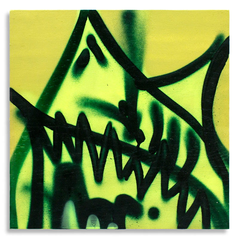 "Shark Toof Throw Up 7 Aerosol on Cradled Wood 12"" x 12"" $100 Click Here to Purchase"