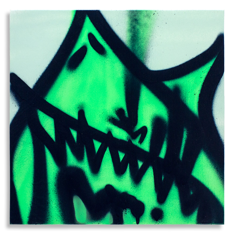 "Shark Toof Throw Up 8 Aerosol on Cradled Wood 12"" x 12"" $SOLD Click Here to Purchase"
