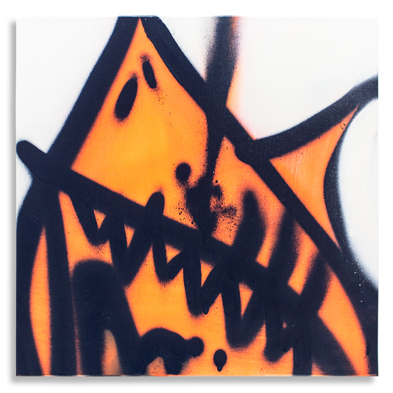 "Shark Toof Throw Up 9 Aerosol on Cradled Wood 12"" x 12"" SOLD Click Here to Purchase"