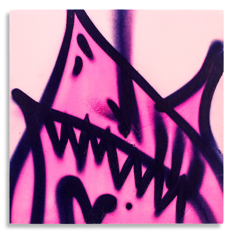 "Shark Toof Throw Up 10 Aerosol on Cradled Wood 12"" x 12"" SOLD Click Here to Purchase"