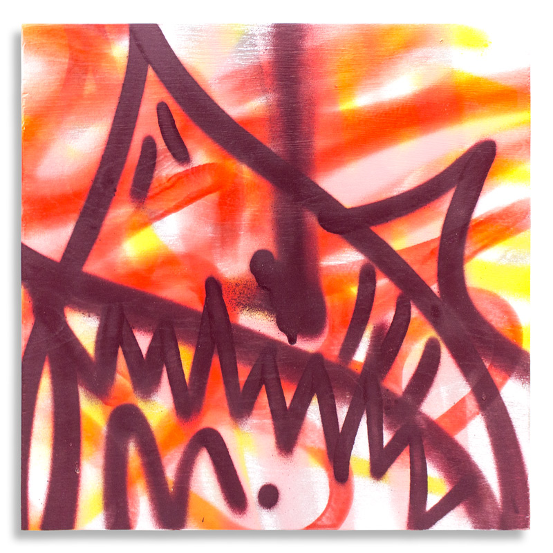 "Shark Toof Throw Up 11 Aerosol on Cradled Wood 12"" x 12"" SOLD Click Here to Purchase"