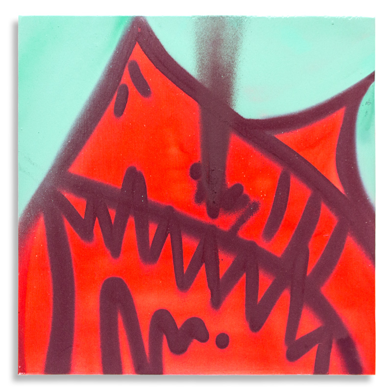 "Shark Toof Throw Up 13 Aerosol on Cradled Wood 12"" x 12"" SOLD Click Here to Purchase"