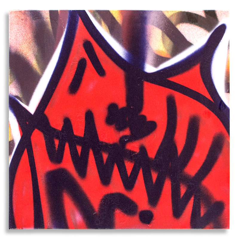 "Shark Toof Throw Up 14 Aerosol on Cradled Wood 12"" x 12"" SOLD Click Here to Purchase"