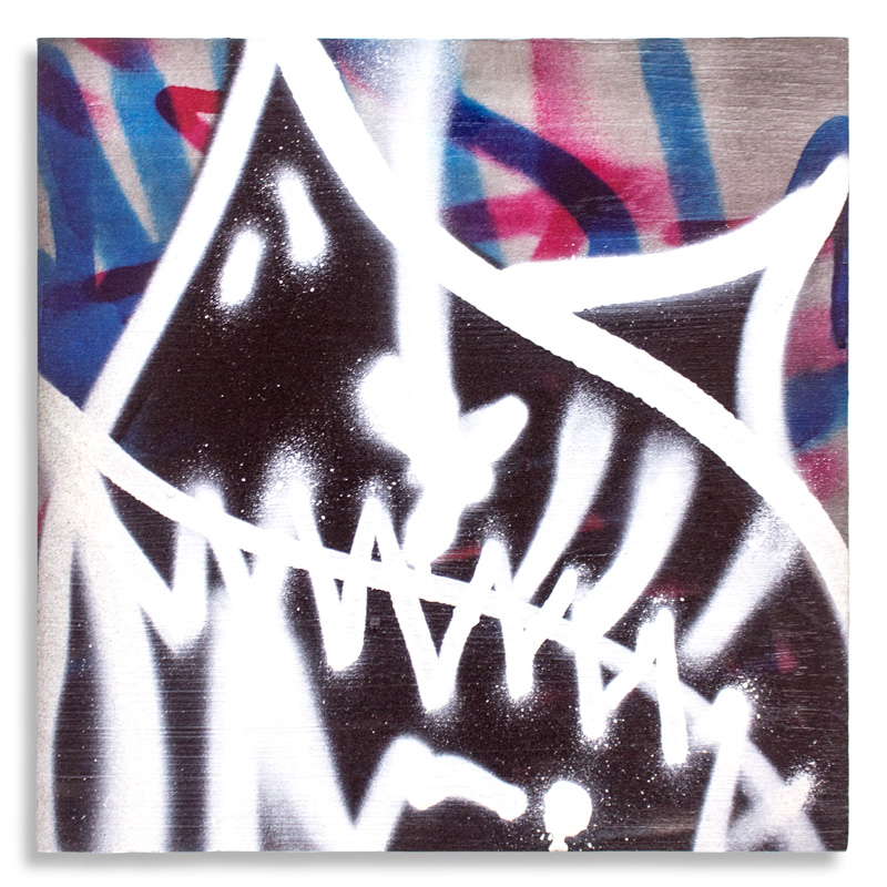 "Shark Toof Throw Up 15 Aerosol on Cradled Wood 12"" x 12"" SOLD Click Here to Purchase"