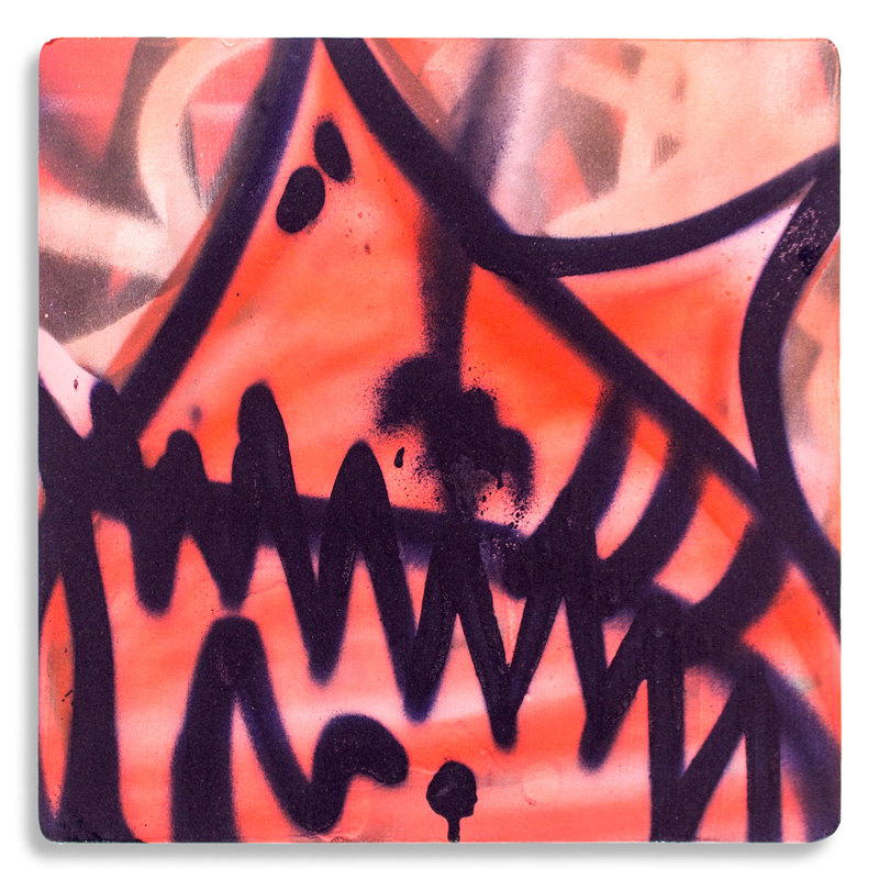 "Shark Toof Throw Up 16 Aerosol on Cradled Wood 12"" x 12"" $100 Click Here to Purchase"