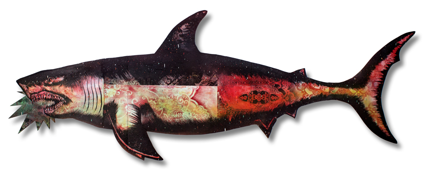 "Migration Shark 1 Mixed Media on Laser Cut Wood 115"""" x 43"" x 1.75"" $1200 Click Here to Purchase"