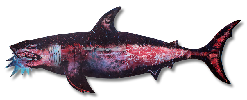 "Migration Shark 2 Mixed Media on Laser Cut Wood 115"""" x 43"" x 1.75"" SOLD Click Here to Purchase"