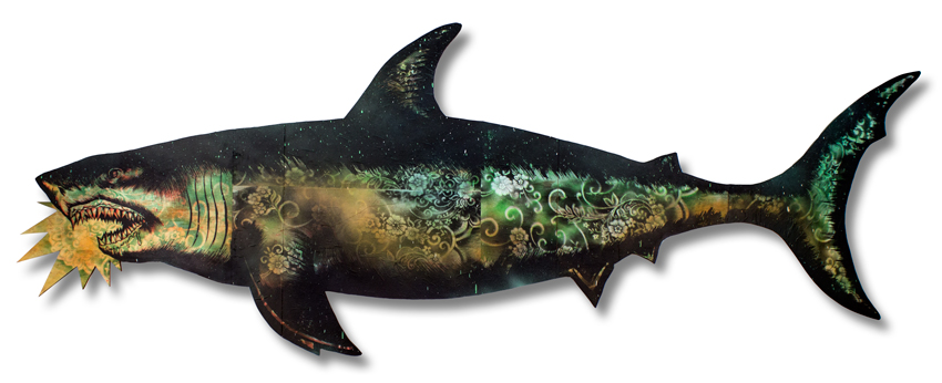 "Migration Shark 3 Mixed Media on Laser Cut Wood 115"""" x 43"" x 1.75"" SOLD Click Here to Purchase"