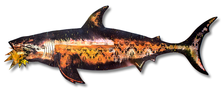 "Migration Shark 4 Mixed Media on Laser Cut Wood 115"""" x 43"" x 1.75"" $1200 Click Here to Purchase"