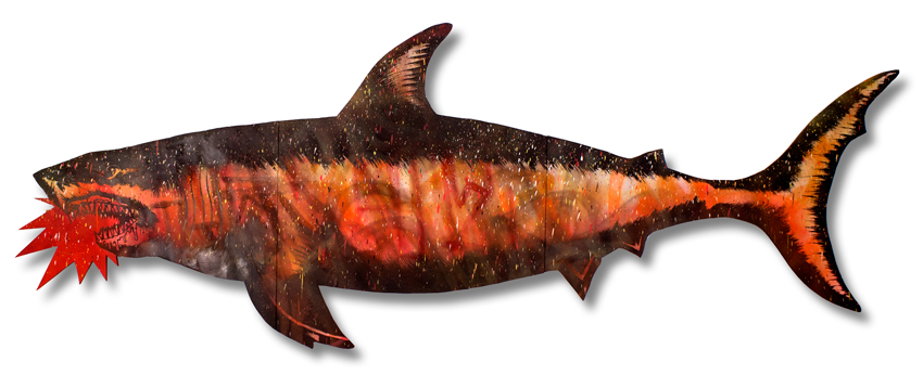 "Migration Shark 5 Mixed Media on Laser Cut Wood 115"""" x 43"" x 1.75"" $1200 Click Here to Purchase"