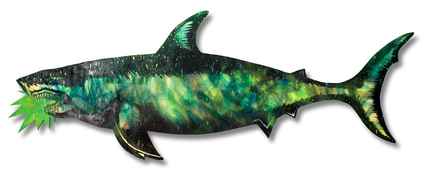 "Migration Shark 6 Mixed Media on Laser Cut Wood 115"""" x 43"" x 1.75"" SOLD Click Here to Purchase"