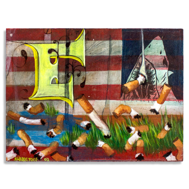 "American Flag Aerosol & Acrylic Cradled on Illustration Board 8"" x 6"" $300 Click Here to Purchase"