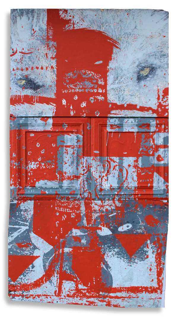Wolf Gang 30 x 62 Inches Mixed Media on Wood Panel $2,500