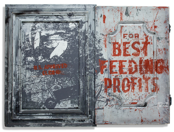 For Best Feeding Profits 24 x 18 Inches Mixed Media on Wood Panel SOLD