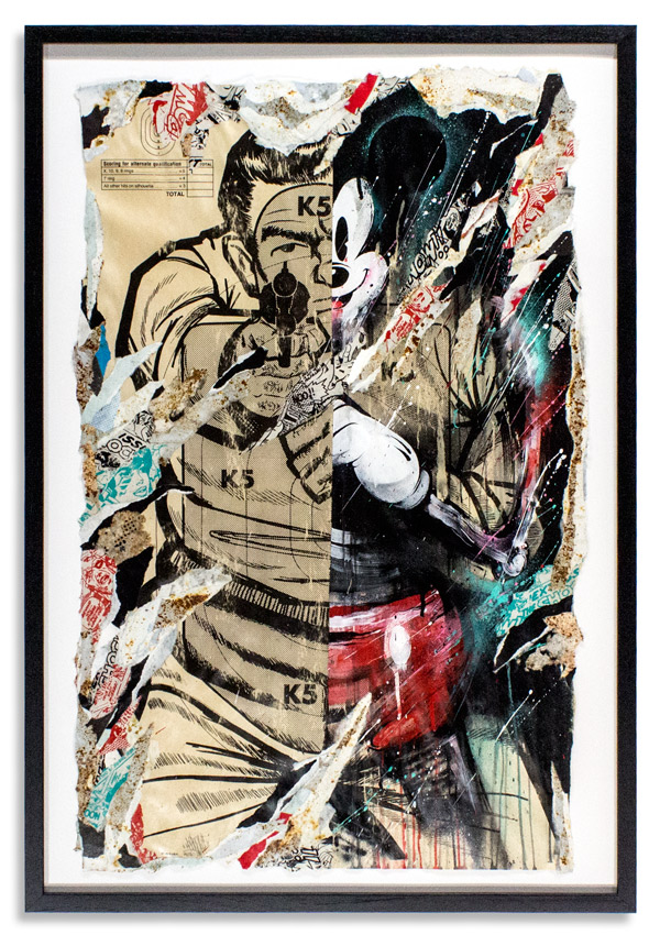Misspent Youth   22.5 x   35  Inches    Framed 27.5 x 39.5 x 1 Inches w/ UV Glass   Aerosol, Acrylic, Screen Print &   Reclaimed Paper on Target Poster   SOLD