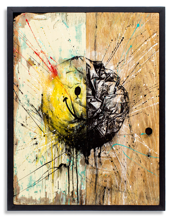 Beauty in Decay II   18 x 24 Inches   Framed:   19.5 x 25.25 x 1 Inches   Aerosol, Acrylic, on   Reclaimed   Wood  SOLD