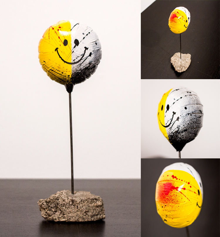 Spoiled Rotten (Miniature) - Edition of 25 -   Balloon: 3.5 x 3.5 x 1 Inches   Height: 11 Inches -   Steel Rod, Reclaimed Concrete Base   Aerosol, Acrylic, Resin, Steel, Re-purposed Concrete   Collaborative 3D Sculpture by MEGGS x Rafael Batista  SOLD OUT