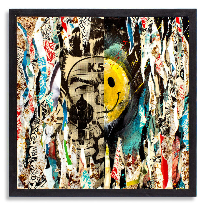 Torn Down   18 x 18 x 1.5 Inches Cradled   Wood Panel   Aerosol, Acrylic, Screen Print, Reclaimed Posters on Wood SOLD