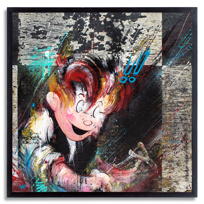 Spoiled Rotten (aka Meggsy)    32 x 32  Inches   Aerosol, Acrylic, on   Reclaimed   Wood   SOLD