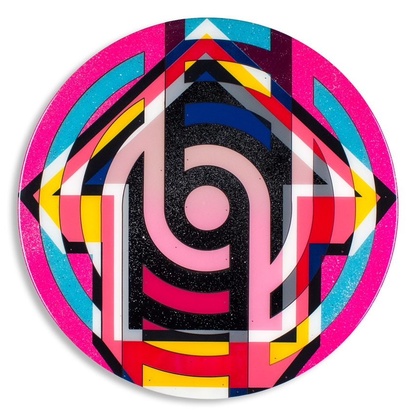 Lock - Sofiya 24 x 24 x 2.5 inches / 60 x 60 x 6 cm Acrylic, Spray Paint & Screen Print Ink on Birch Wood Panel with Archival UV Protected Resin  SOLD