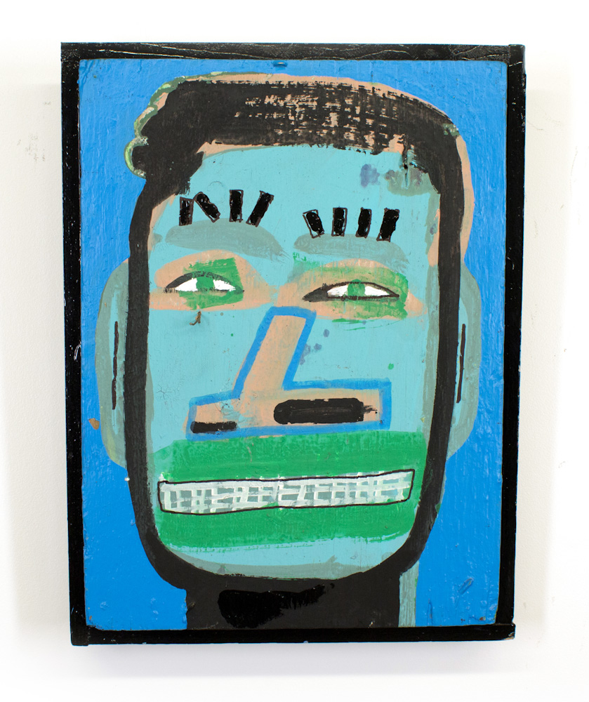 Tyree Guyton Slick - 1999  Mixed Media on Reclaimed Wood Panel  26.5 x 20 x 4 inches  Salvaged  from the City Of Detroit demolition of the H eidelberg  Project in 1999 SOLD