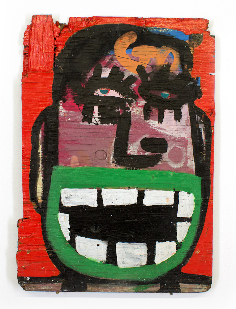 Tyree Guyton Ain't Afraid of Shit - 1997  Mixed Media on Reclaimed Wood Panel  24 x 17 x 1 inches  Salvaged   from the City Of Detroit demolition of the H  eidelberg   Project in 1999 SOLD