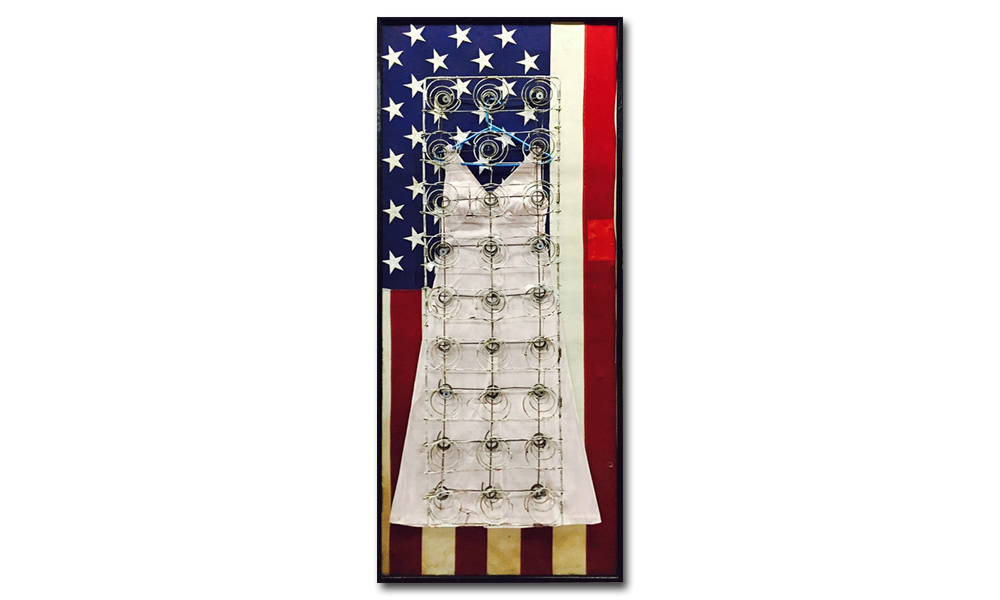 Tyree Guyton All of Jackie - 2003  Mixed Media on Reclaimed Wood Door, Dress, Bed Springs, Flag  81 x 34 x 8 inches Mixed Media $12,500.00