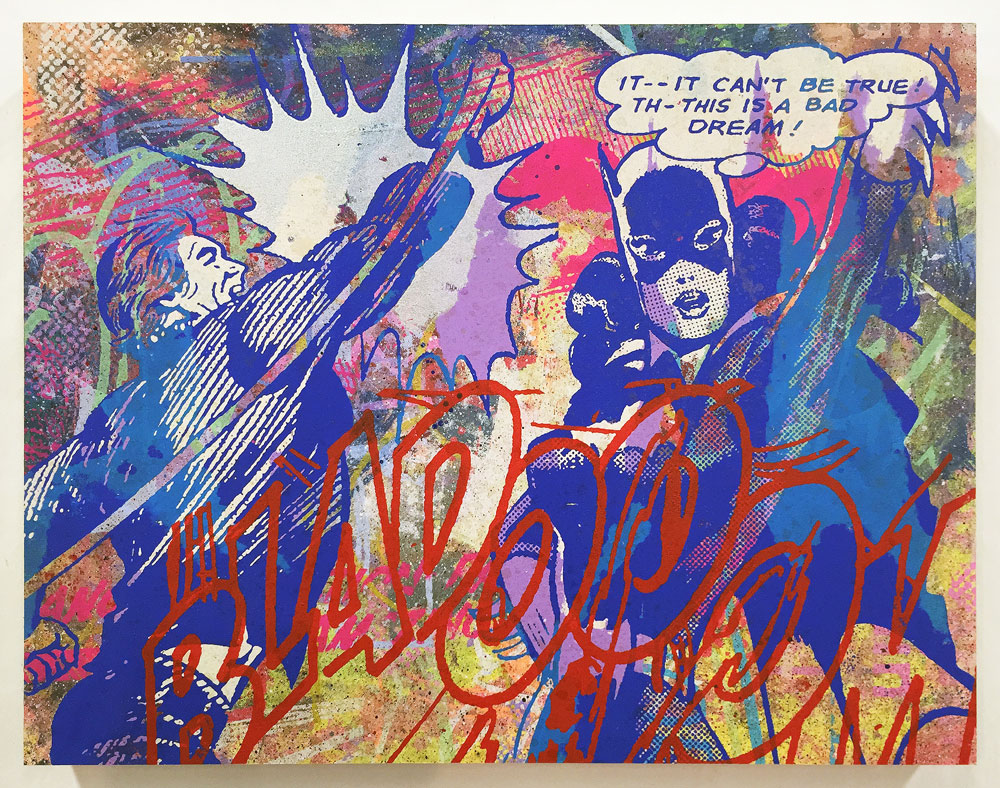 Greg Gossel It Can't Be True... (Silver) Edition of 6 with different color ways 18 x 14 x 1.75 inches - Screen Print and Mixed Media on Cradled Wood Panel  Click here for additional info